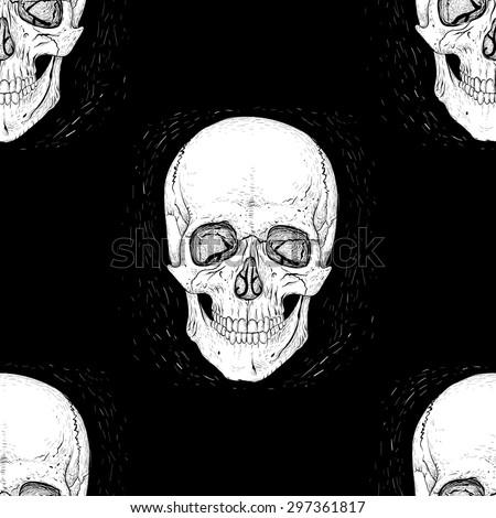 Skull seamless pattern on black background. - stock vector