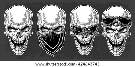 Skull smiling with bandana and glasses for motorcycle on forehead and eyes. Black vintage vector illustration. For poster and tattoo biker club. Hand drawn design element isolated on dark background - stock vector