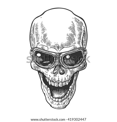 Skull smiling with glasses for motorcycle. Black vintage vector illustration. For poster and tattoo biker club. Hand drawn design element isolated on white background. - stock vector