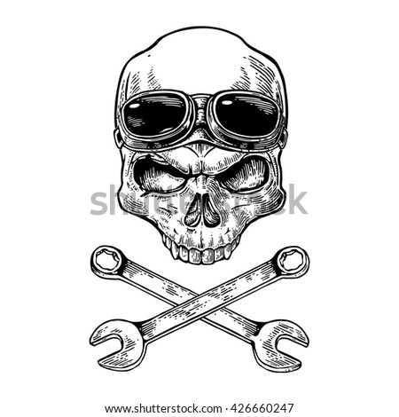Skull smiling with glasses for motorcycle on forehead and bones. Black vintage vector illustration. For poster and tattoo biker club. Hand drawn design element isolated on white background - stock vector