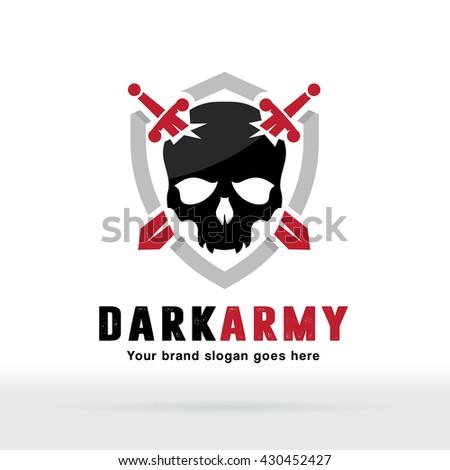 Skull Sword Logo, Skull and Sword Icon with Shield - stock vector