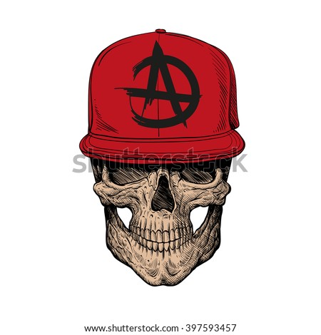 Skull teenager, fashion style. Hand drawn vector illustration - stock vector