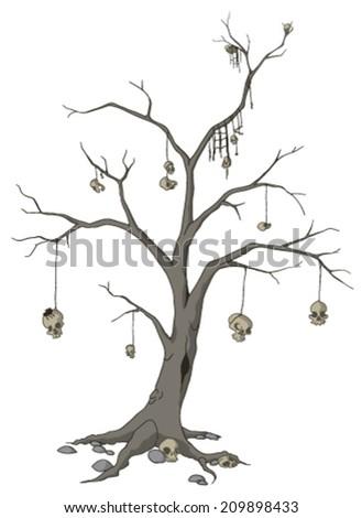Skull tree cartoon, vector, horizontal, over white,  isolated  - stock vector