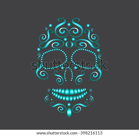 skull vector for fashion design, background or tattoo neon color blue - stock vector