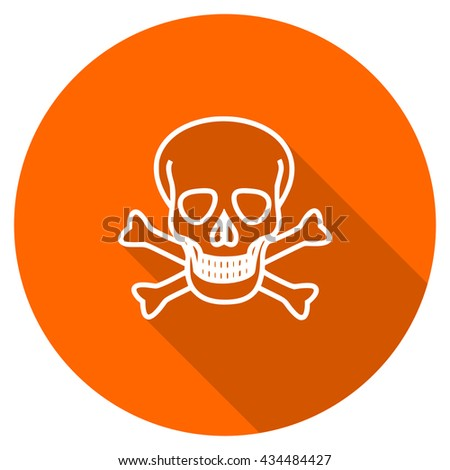 skull vector icon, circle flat design internet button, web and mobile app illustration - stock vector