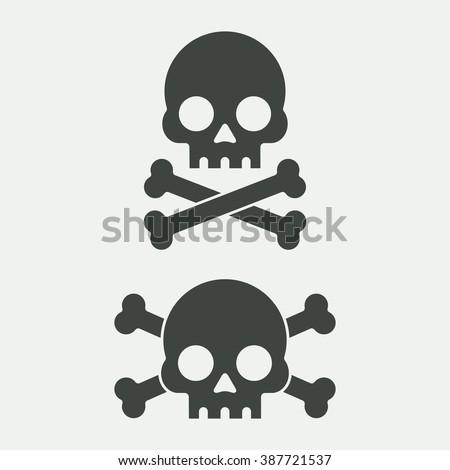 Skull vector illustration. Skull and crossbones. Skull icon. Sign of death, danger. Jolly Roger for pirate flag. Skull cartoon. Skull black. Skull in flat style. Skull human head. Skull silhouette. - stock vector