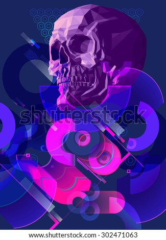 skull vector with background.Halloween poster illustration - stock vector