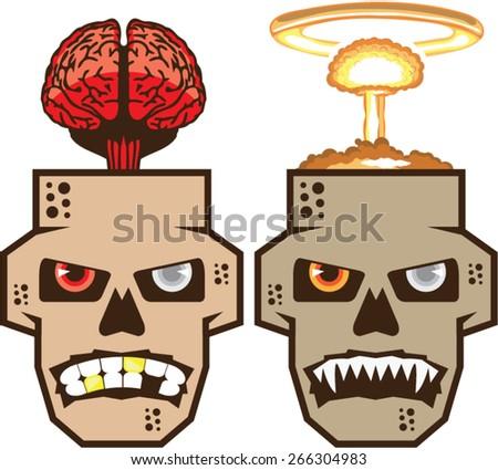 Skull w brain n nuclear blast vector - stock vector
