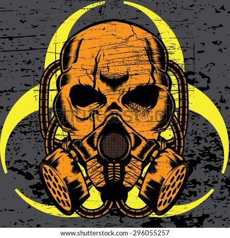 skull wearing a gas mask. vector - stock vector