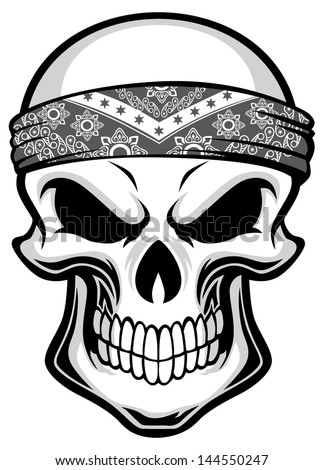 skull wearing bandana - stock vector