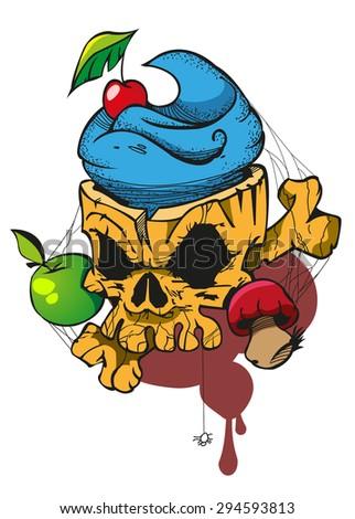 Skull with an apple, mushrooms, spider web, tattoo sketch - stock vector