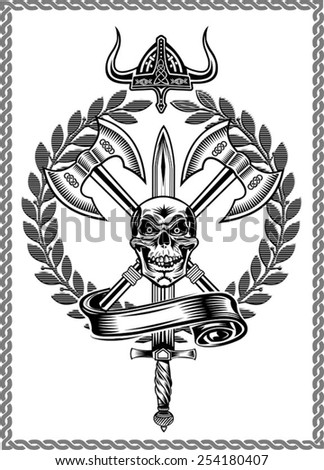 Skull with Ax - stock vector