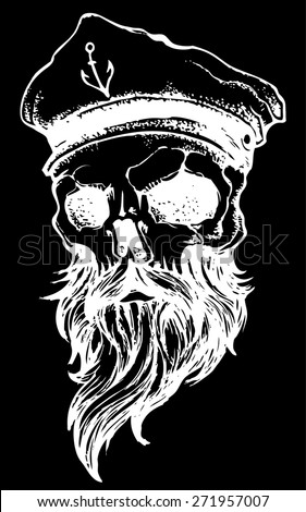 skull with beard and captain hat  - stock vector