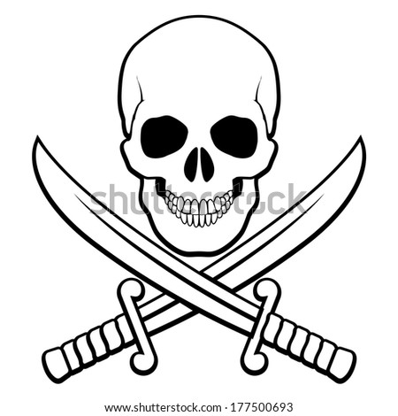 Skull with crossed sabers beneath. Black-and white illustration of pirate symbol - stock vector