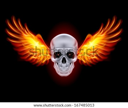 Skull with fire wings on black background. - stock vector