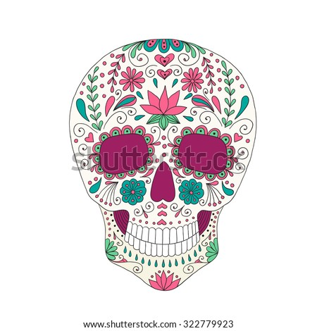 Skull with floral ornament. - stock vector
