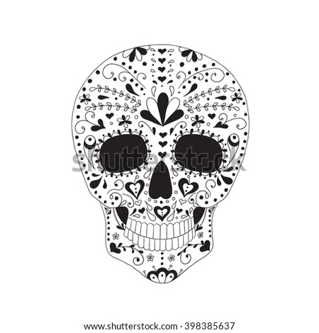 Skull with floral ornament. Day of the dead. - stock vector