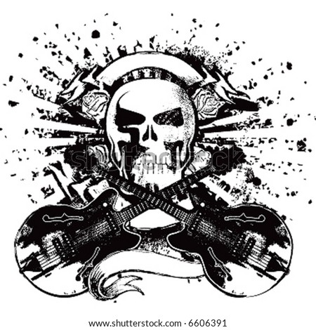 skull with guitars rock emblem - stock vector