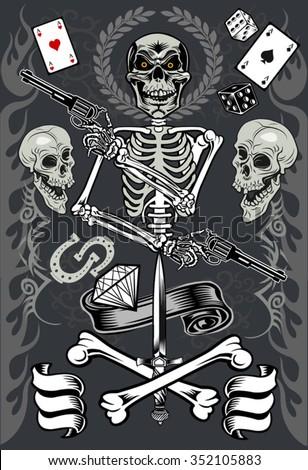 skull with guns - stock vector