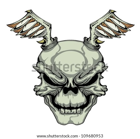 skull with iron wings isolated on white - stock vector