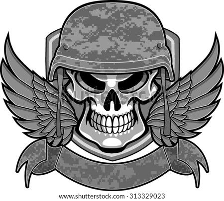 skull with military helmet, wings and banner - stock vector