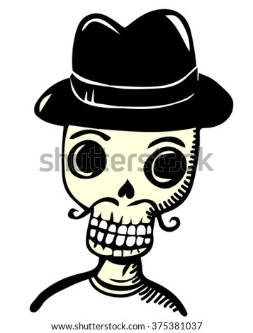 Skull with mustache and hat - stock vector