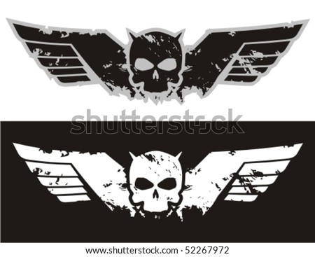 Skull with wings. Vector illustration. - stock vector