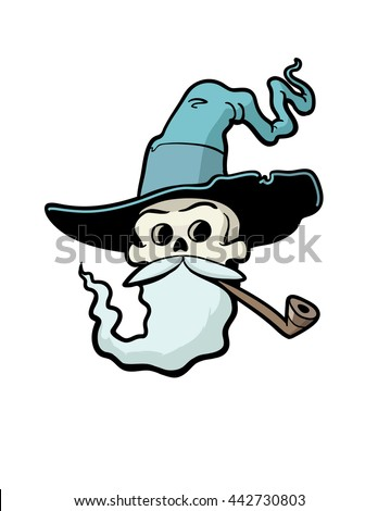 Skull Wizard. The skull of a crusty old wizard, smoking a pipe & wearing a pointy hat. - stock vector