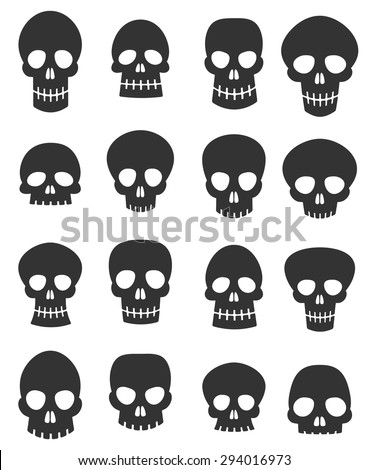 Skulls set - stock vector