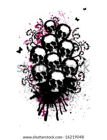 Skulls Vector Illustration - stock vector