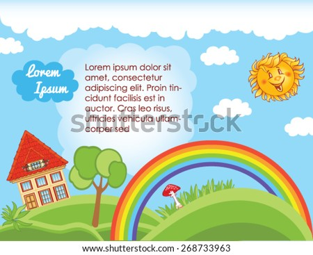 Sky background for kid template - stock vector