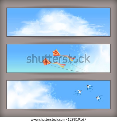 Sky banners with white fluffy clouds, blur, flying kites and birds (swallows) on a clear summer day. Horizontal vector background design with space for text at the backdrop in blue pastel colors - stock vector