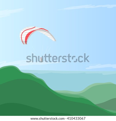 Sky diver flying on a paraglider in the blue sky over green hills, eps10 vector illustration. Concept is taking breath away, feelings of freedom and cheerfulness by paragliding. Counter light by sun. - stock vector