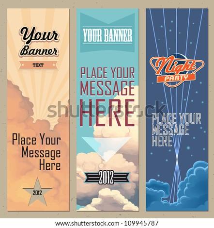 Sky Retro Banners Vertical - stock vector