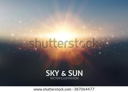 Sky & Sun. Realistic Blur Design. Abstract Shining Background. Vector illustration - stock vector