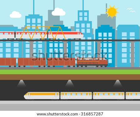 Sky train, freight train and subway, vector illustration - stock vector