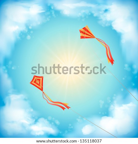 Sky vector design with white fluffy clouds, sun, blur, red flying kites on a clear summer day. Artistic background with space for text at the backdrop in blue and yellow pastel colors - stock vector