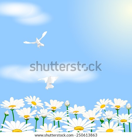 Sky with clouds, daisies and pigeons. - stock vector