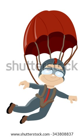 skydiver parachute in the air - stock vector