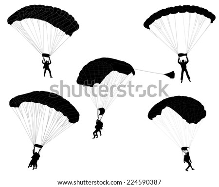 skydivers silhouettes collection - stock vector