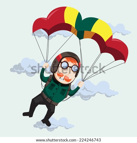 Skydiving - stock vector