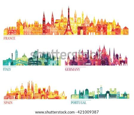 Skyline detailed silhouette set (France, Italy, Germany, Spain, Portugal). Vector illustration - stock vector