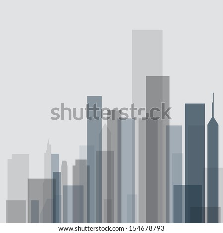 skyline landscape abstract poster framework art silhouette in vector format - stock vector