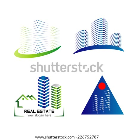 Skyline logo set template design  - stock vector