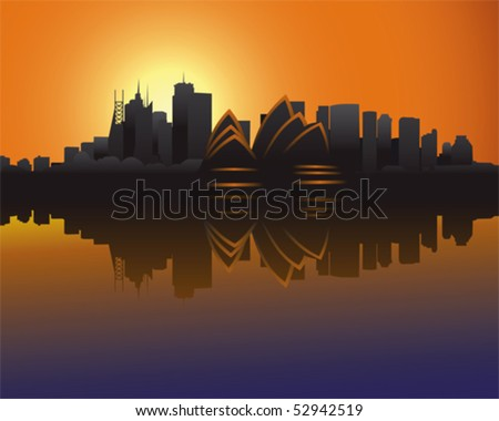 Skyline of Sydney at sunset - stock vector
