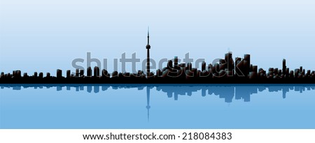 Skyline silhouette of the city of Toronto, Ontario, Canada. - stock vector