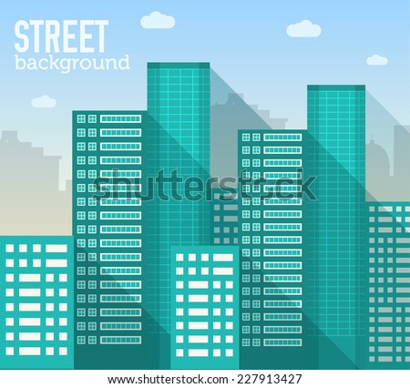 skyscraper building in city space with road on flat style background concept. Vector illustration design - stock vector