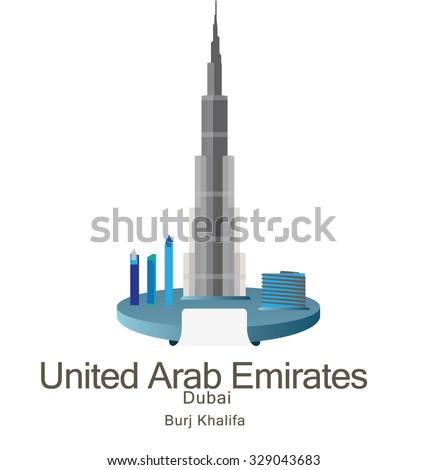 Skyscraper Burj Khalifan in United Arab Emirates, Dubai - stock vector