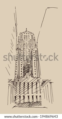 skyscraper, city engraving vector illustration, hand drawn - stock vector