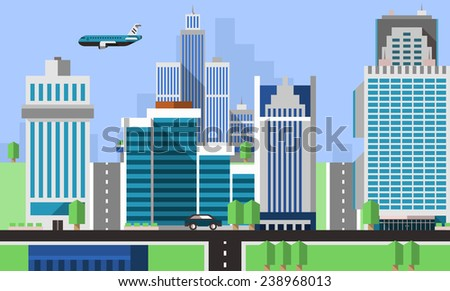 Skyscraper offices flat background with business real estate property apartments vector illustration - stock vector